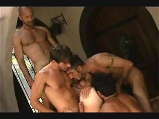 Hot interracial gay threesome