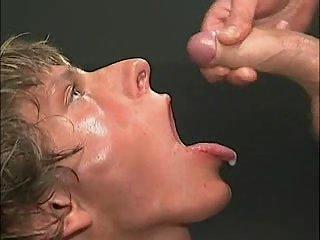 Cum swallowing & bukkake gangbang