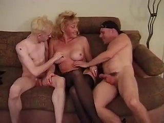 Two horny guys & woman ramming