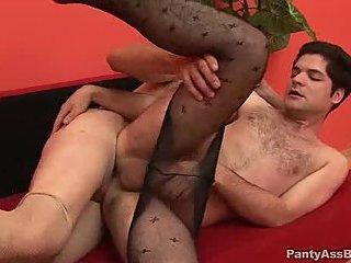 Panty guys sucking & pounding