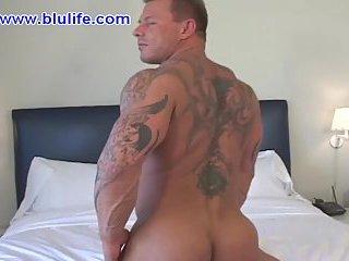 Tattooed stud solo teasing