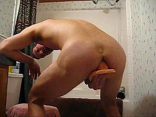 Reverse huge dildo saddling