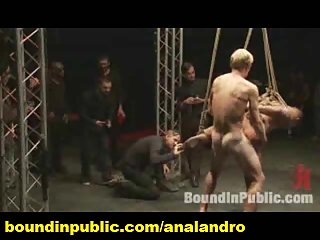 Tied Gay Slave Public Humiliated on Halloween BDSM Party