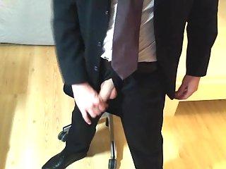 Office man self-abusing