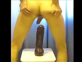 Huge black dildo penetration