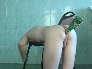 Solo Gay Shoving Bottle In His Butt