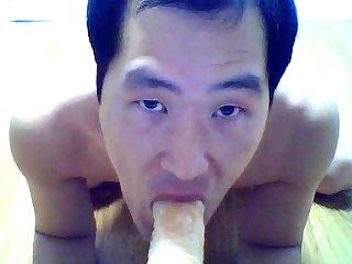 Asian dildo fucking