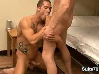 Super hot tattooed guy ass licking