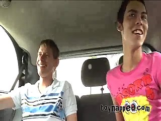 Twinks threesome in a car