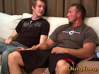 Lewd gay studs anus pounding