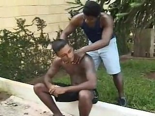 Ebony guys petting outdoor