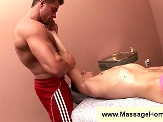 Jeremy Lange gets a massage