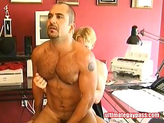 Hunks extreme condom fuck in the office