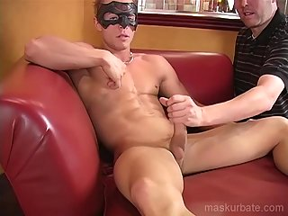 Excellent handjob for guy in the mask