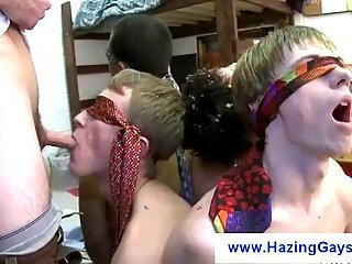 Blindfolded students waiting for a dick