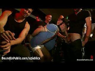 Bondage blindfolded gay group blowjob in gay bar