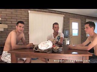 Nude guys play cards