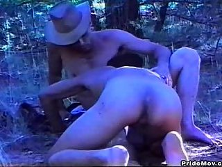 Hairy cock sucking outdoors