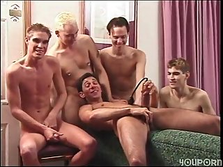 Group hunks pumping & jacking off