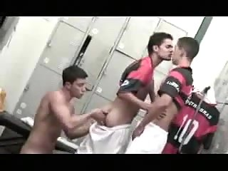 Horny Players Relax After Game