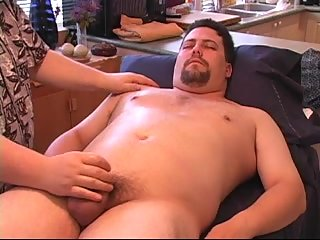 Furious handjob & ball petting for fat guy