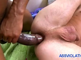 Big black dick fucks white tight gay ass