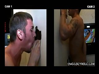 Straight Guy Gets His Dick Sucked By Gay Through The Hole