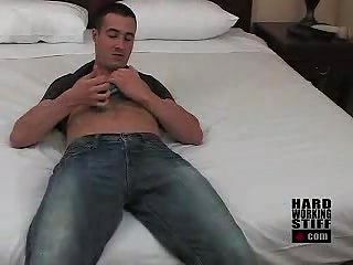 Cute guy drills himself with huge blue dildo