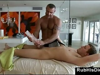 Straight massage with gay bear and fleslight