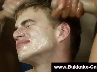 Hot boy takes refreshing cum shower
