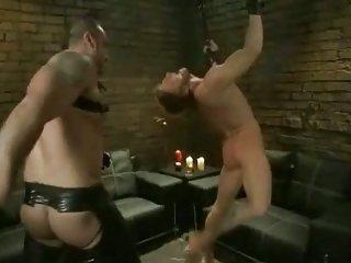 Athletic gay handsomes tasting the pleasures of bondage hard sex