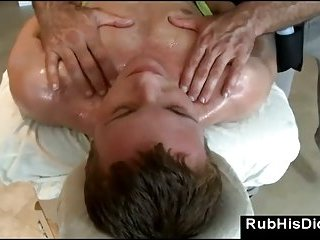 Gay massage guy rubs straight guy with oil
