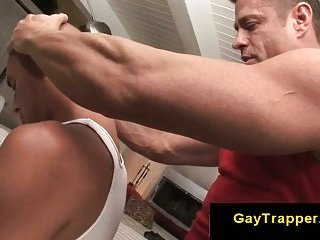Gay guy gives straight guy sensual massage