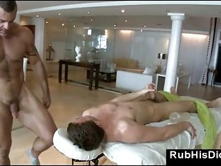 Gay massage guy sucks straight guy