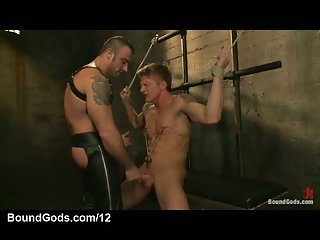 Rope bondage muscle gay nipples clamed mouth fucked