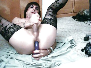 Filthy Toying Crossdresser Whacking Off