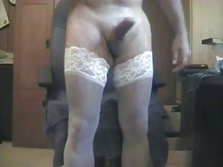 Filthy Amateur Crossdresser In White Stockings