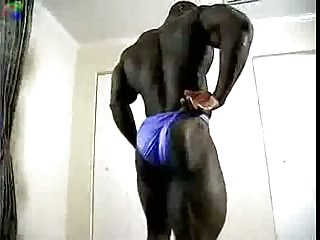 Extra hot ebony stripping & showing his body