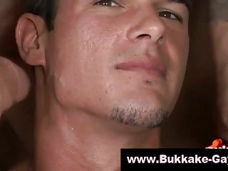 Gorgeous guy plastered in cum