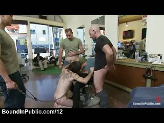 Leashed gay gives blowjobs and handjobs in public