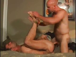 Lewd gay guys ass stretching