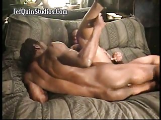 ebony couple steamy drilling on a couch