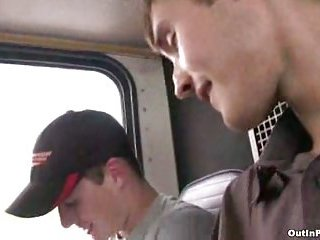 Twinks suck & fuck in the bus