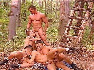 Hot outdoor gay group sex