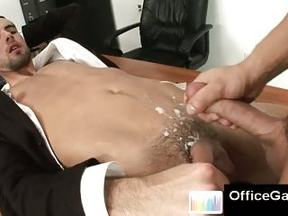 Cumshot on gay boy after anal office fuck