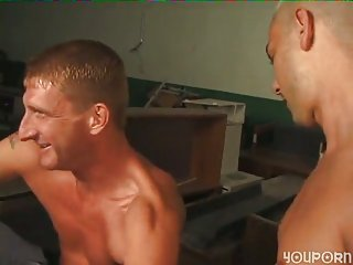 Non-stop dude drills blonde hunk with his big cock