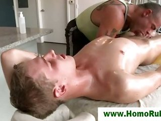 Gay masseur sucks straight dude after massage