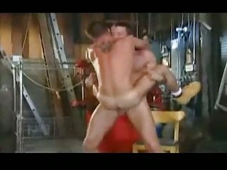 Sexy hunks making out in the garage