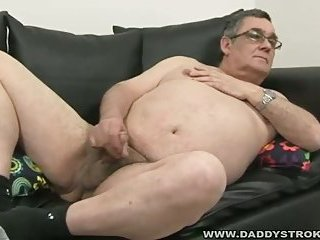 Fat Daddy Jerking His Cock