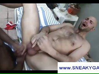 Bald man ass fucked hard gets cumshot on outdoor